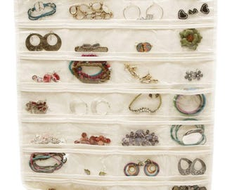 Hanging Jewelry Organizer 80 Pockets - 2 Sides (Jewelry Not Included)
