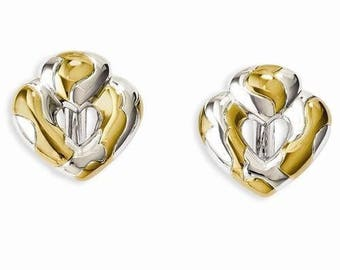 Jackie Kennedy Heart Earrings - Two Tone Clip Ons with Box and Certificate