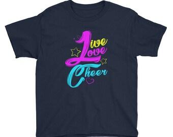 Cute Neon Cheerleading Live Love Cheer Kids Shirt