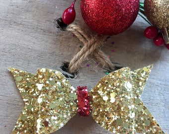 Festive sparkly glitter Gold hair clips