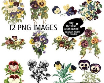 SALE: Clipart PANSY - Vintage Flower Clipart - Pansies - Digital Scrapbooking Pansy - Pansy Digital Clip Art Set - Instant Download - Pansy