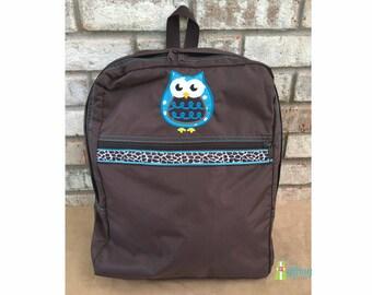 Kids Backpack, Brown Backpack with Owl Applique, School Backpack, Book Tote, Book Bag