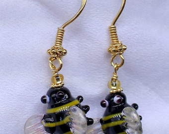 Honey bee lampwork  earrings
