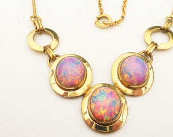 Art Deco Foiled Opal Art Glass Three Stone Necklace Thumbless Spring Ring Clasp