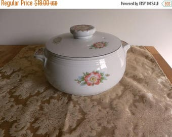 SALE: Vintage Hall's White Rose Covered Casserole