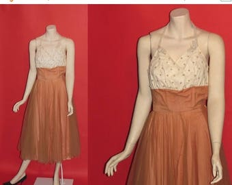 ON SALE Vintage 1950's Picture Perfect 50's Organza Pearl Beaded Halter Prom Evening Hollywood Womens Dress - XS