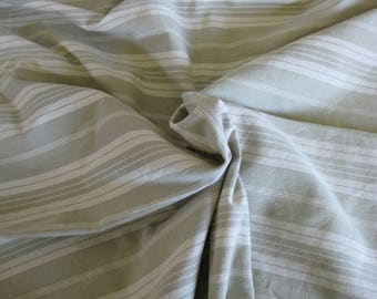 striped mattress ticking, French toile de matelas in ivory and soft green stripes