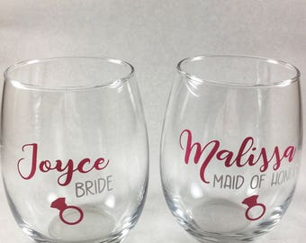 Bridesmaid Stemless Wine Glass - Bridesmaid Gift - Maid of Honor Present - Personalized Wine Glasses - Bridal Party - Bachelorette Party