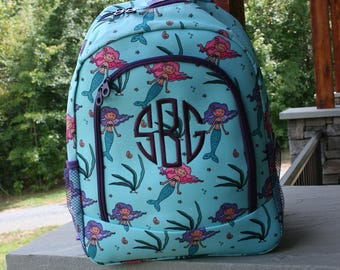 Monogrammed Backpack Mermaid Girls Bookbag