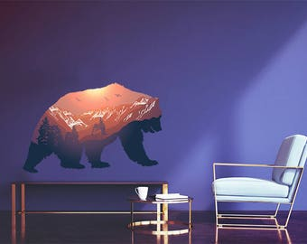 Bear Mountain Landscape Silhouette Vinyl Wall Decal Graphics Bedroom Home Decor