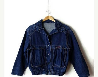 ON SALE Vintage Blue Denim Snap button Jacket/Blouson from 1980's*