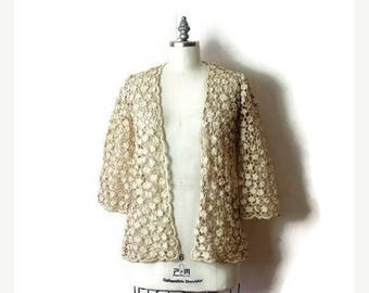 ON SALE Vintage Light Beige/White Floral Crochet Long Cardigan from 1960's