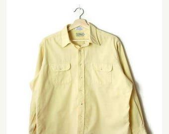 ON SALE Vintage L.L.Bean  Men's Pale/Pastel Yellow Corduroy Long Sleeve Shirt*