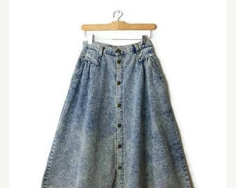 ON SALE Vintage  Acid wash Button down  Long Flare Skirt  from 1980's/W25*