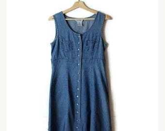 ON SALE Vintage Denim Button down Sleeveless Long Dress  from 90's*