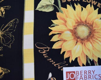 Reserve Listing for SHARON for 3 Yards of Sunflower Stripe from the Follow the Sun Collection by Lisa Audit for Wilmington Fabrics.