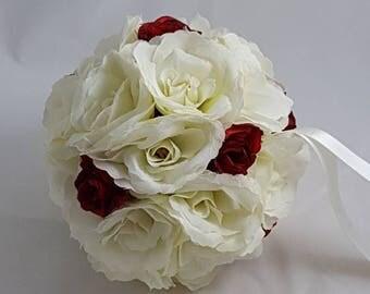 "6"" Ivory and Red Rose Silk Wedding Pomander, Wedding Flower Balls, Flower Girl Kissing Ball,  Bouquet Alternative"