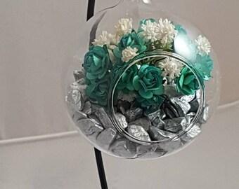 90mm Glass Bauble Flower Arrangement, Green and Cream Flower Arrangement, Gift Ideas, Home Decor Arrangements