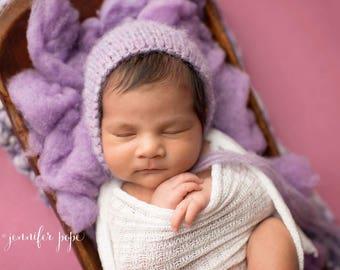 Lilac baby bonnet,Lavander bonnet,Light purple bonnet , Newborn knit bonnet