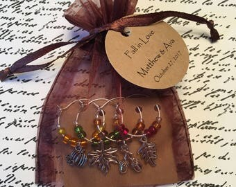 25-49 Custom Autumn/Fall Themed Wine Charm Favor Sets - Weddings, Bridal Shower, Rehearsal Dinner, Anniversary or Special Event