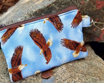 Eagle Coin Purse, Small Zipper Wallet, Kids Change Purse, Ear Bud Case, Eagle Zipper Pouch