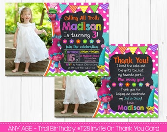 SALE - Troll Birthday Invitation Or Thank You Card - Any Age - Custom Printable Digital File -  Photo Card Printable