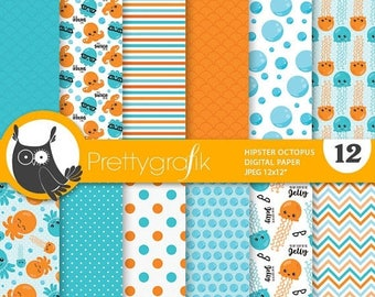 80% OFF SALE Octopus hipster paper digital papers, commercial use, pirate scrapbook papers, background - PS851