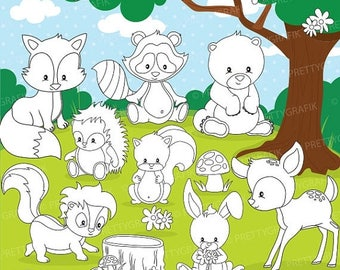 80% OFF SALE woodland animals digital stamp commercial use, vector graphics, digital stamp, digital images - DS807