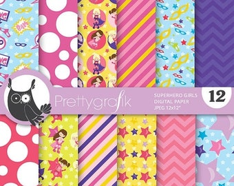80% OFF SALE Superhero girls digital paper, commercial use, scrapbook papers, background - PS685