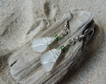 Handmade Natural Authentic White Sea Glass Earrings Wire Wrapped with Green Accents Beachy!