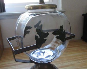 Vintage Retro  riveted metal  Fish Bowl Holder - Awesome find by a craftsman - Estate find!