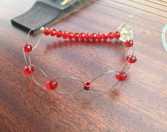 Red Beaded Recycled Guitar String Bracelet
