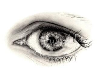 Eye Drawing - Eye Print, Fine Art Print, hyperrealistic art - Modern Art - Graphite Art, Charcoal Art, Realistic Art, Contemporary Art Print