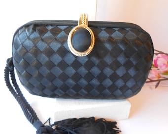 Black Evening Bag, Vintage Evening Bag, Small Black Bag, Black Clutch Bag, Clutch Handbag, Evening Purse EB-0681