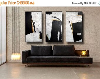 """ON SALE 72x48"""" Set of 3 Original Abstract Acrylic Painting Extra Large TRIPTYCH Black Gray White Yellow Mustard Unstretched 717273"""