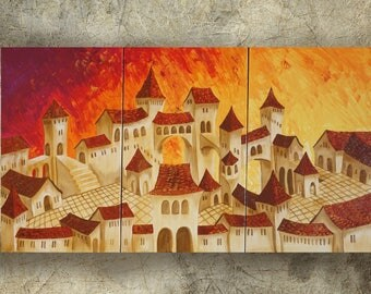 Surrealism old town paintings 100x180 cm orange XXL OFFICE decor a47 original abstract art by Ksavera