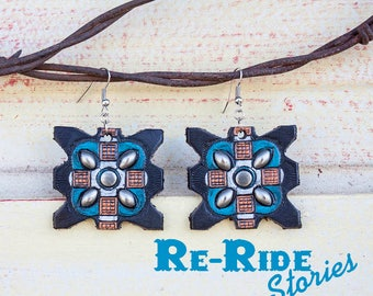 Leather Earrings- Black Turquoise X