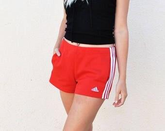 Red Adidas 3 Stripe Drawstring Shorts
