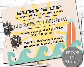 Hawaiian Invitation-Beach Birthday-Surfboard Invitation-Tropical Invitation-Summer Birthday-Surfs Up Invite-Surfing Invitation