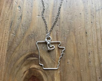 Arkansas necklace, state outline necklace