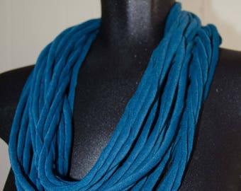 "Dark Aqua Loop-/nfinity/Cowl  Scarf 54"" circumference  OOAK Gift for Her Spagheti Yarn Velveteen Fabric"