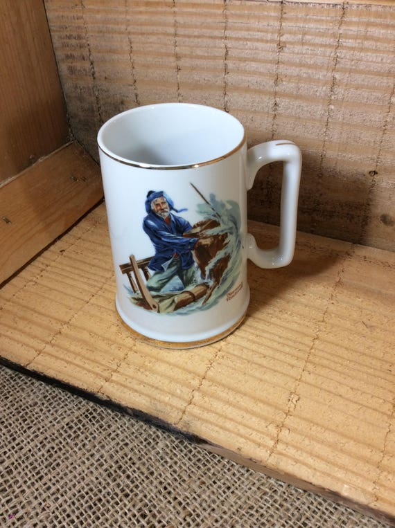 Braving The Storm by Norman Rockwell, tall Norman Rockwell mug, vintage mug by Norman Rockwell, the Norman Rockwell Musuem, sailor decor