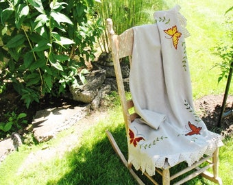 Vintage 1970s Hand Embroidered Butterflies Crocheted Edging Round Taupe Linen Tablecloth 52
