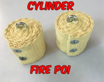 Cylinder Fire Poi Heads - Great Beginner Set - 50 mm