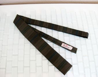 Green Brown Stripe Skinny Tie Square End - Mad Men 1950s Wool Blend - Ernst Nizam