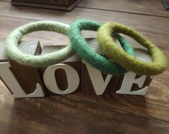 Set of Three Hand Felted Bangles in shades of green inspired by meadows, made from natural wool