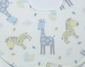 Baby Bib & Burp Cloth Set - Sweet Giraffes and Zebras