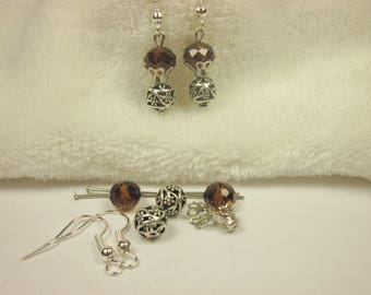 Kit earrings glass and metal 2 cm (55 kit)