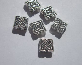 6 square (2406B) silver metal beads