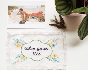 Hand embroidered wall art - 'calm your tits'